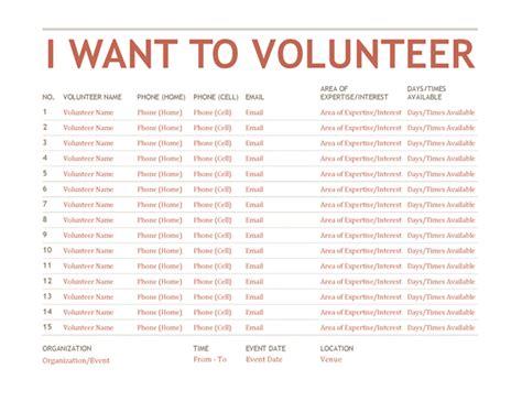 Church Volunteer Info Registration Card Template Areas Work by Volunteer Sign Up Sheet