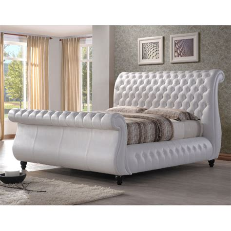 white leather king size bed sawn white real leather finish super king size bed 22866