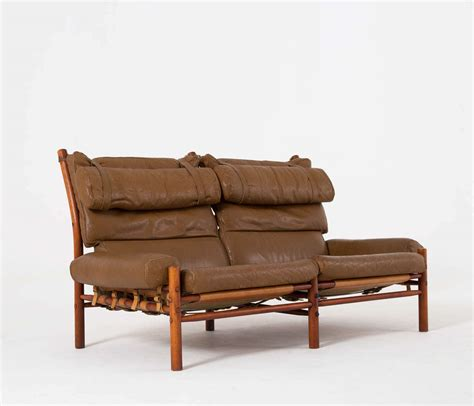 Buffalo Leather Sofa Cognac Buffalo Leather Inka Sofa By Arne Norell At 1stdibs