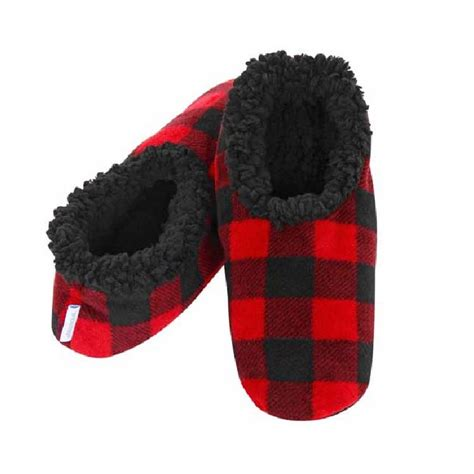 slippers snoozies snoozies mens plaid fleece lined slippers ebay
