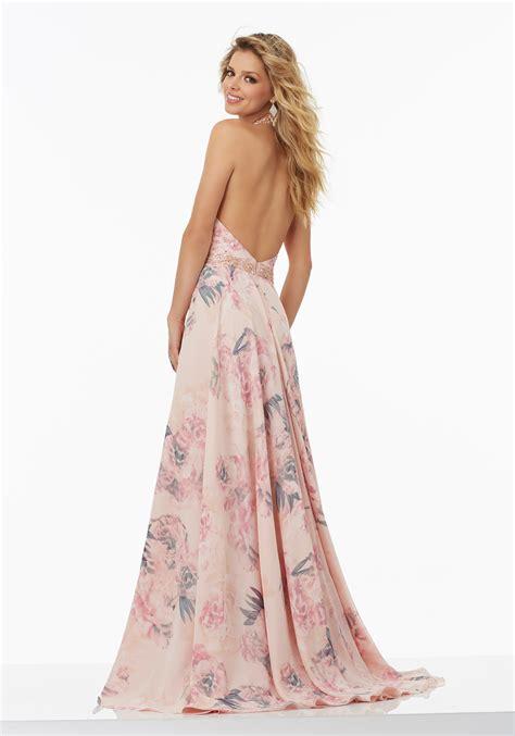 Printed Chiffon Dress floral printed chiffon prom dress style 99038 morilee