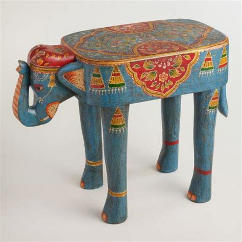 elephant accent table teal painted wood elephant accent table world market