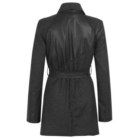 black leather swing coat malabo leather wool swing coat in black