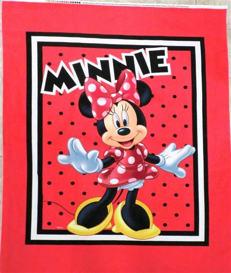 Minnie Mouse Quilt Panel Minnie Mouse Fabric Panel Quilt Top Wallhanging Minnie
