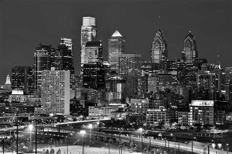 philadelphia skyline at night black and white bw