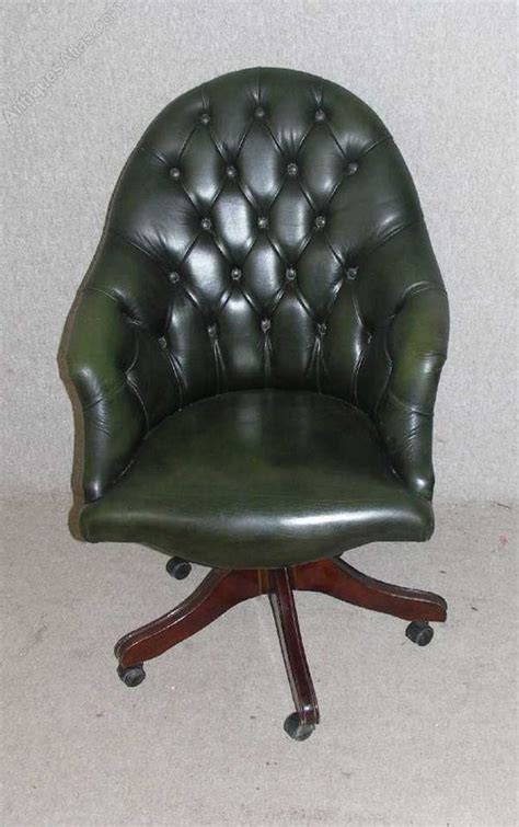 Antiques Atlas Green Leather Chesterfield Swivel Chair Chesterfield Swivel Chair