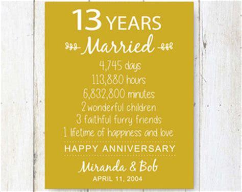 13 year wedding anniversary gifts 13 year anniversary etsy