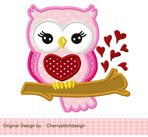 owl valentines day owl s day owl machine embroidery applique design