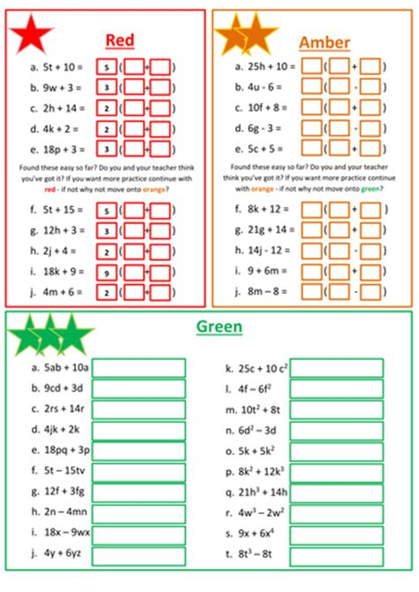 Factoring Linear Expressions Worksheet