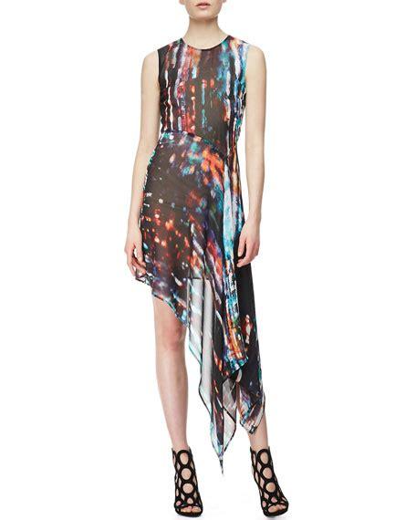 Blorry Dress mcq mcqueen sleeveless asymmetric printed silk
