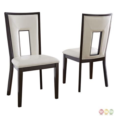 Vinyl Dining Chair Set Of 2 Delano Okoume White Vinyl Dining Chairs In Espreso Cherry