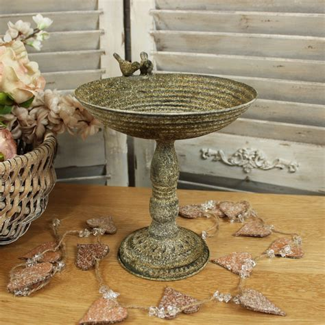 rustic metal bird bath shabby vintage chic garden ornament