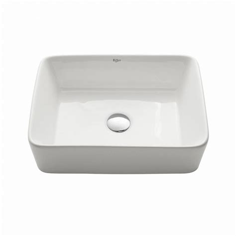 home depot white vessel sink kraus rectangular ceramic vessel sink in white the home