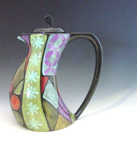 Patchwork Pottery - tea pot patchwork funky teapot colorful