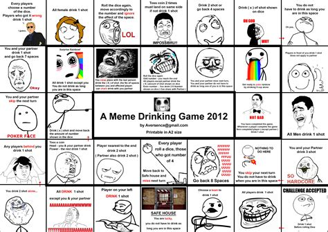 printable drinking board games a meme drinking game by ruinlord on deviantart