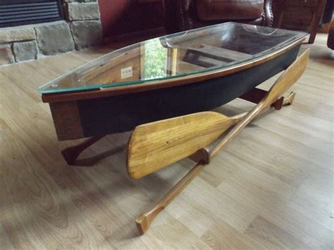 Boat Coffee Table Glass Top Canoe Coffee Table