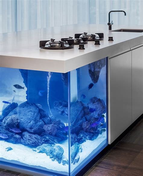 Fish Tank In Kitchen by This Kitchen Island Is Also A Aquarium Bored Panda