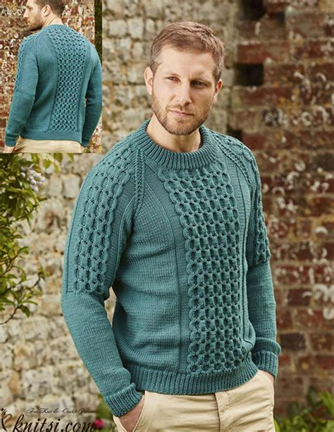 free knitting pattern raglan jumper cabled raglan sweater for men