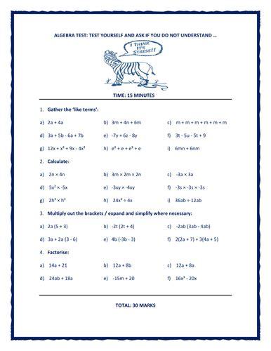 quiz questions year 7 year 7 and 8 algebra quiz 30 questions by math