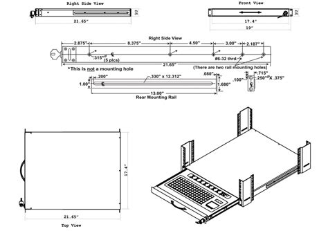Cad Drawer by Rack Mount Usb Keyboard Drawer Cad Drawing 1ru Rackmount