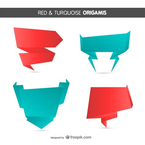 Origami Style And Turquoise Banners Vector Free
