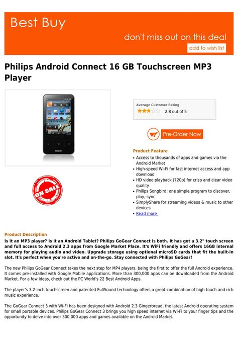 best mp3 player to buy best buy philips android connect 16 gb touchscreen mp3