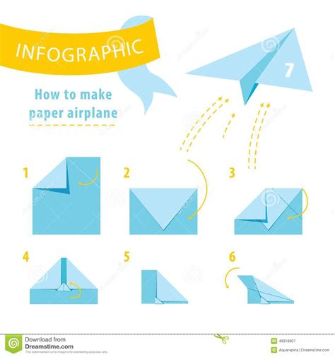 Make Paper Aeroplanes - infographic tutorial how to make paper airplane stock