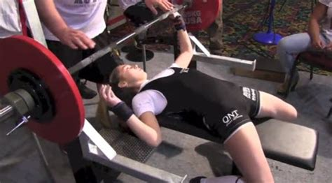 12 year old bench press record 13 year old girl can bench press 198lbs world record video