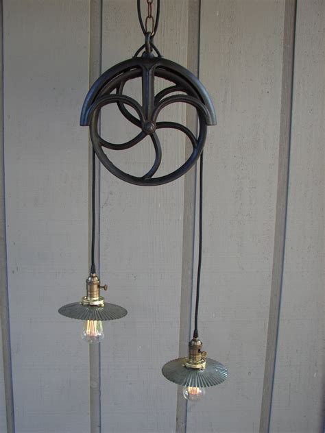 Pulley Pendant Lights Upcycled Vintage Well Pulley Pendant Light With Reflectors
