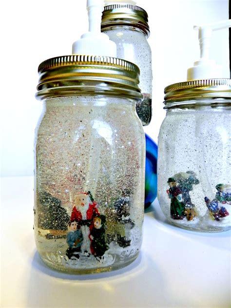 hometalk dollar store mason jar snow globe soap dispensers