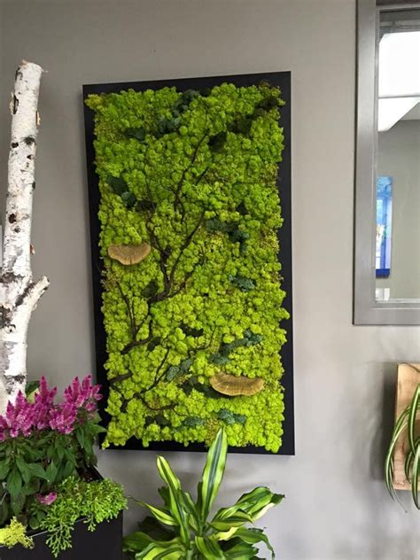 fabulous custom made moss wall with branches and