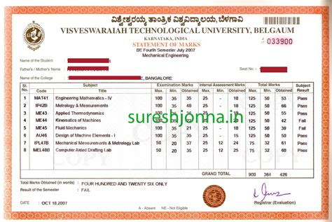 Mba 1st Year 2nd Sem Results by Vtu Be Sle Marks Cards From 1st 8th Semester