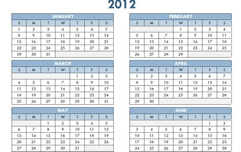one year calendar template 2012 printable pdf one page yearly calendar template