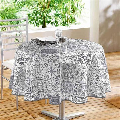 nappe pour table ronde 1307 nappe ronde en pvc impression quot carreaux de ciment quot gris