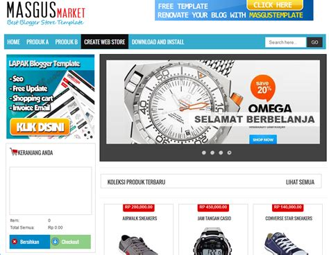 masgus market ecommerce blogger template blogger
