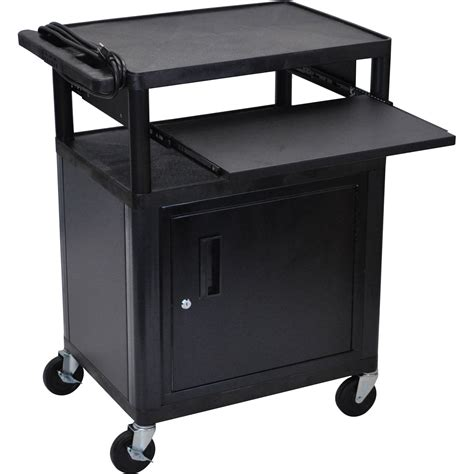 luxor cart with locking cabinet luxor lp34cle b presentation cart with locking cabinet