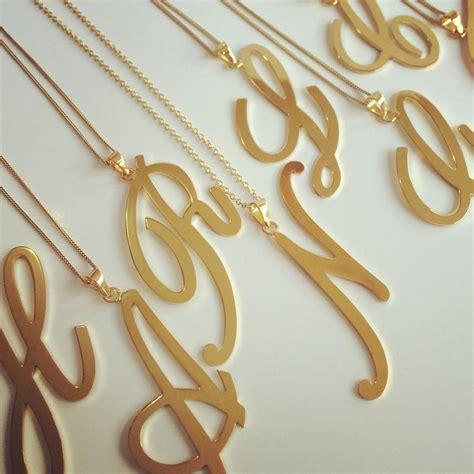 cadenas de oro con dijes iniciales de dijes con cadena collar letras oro laminado
