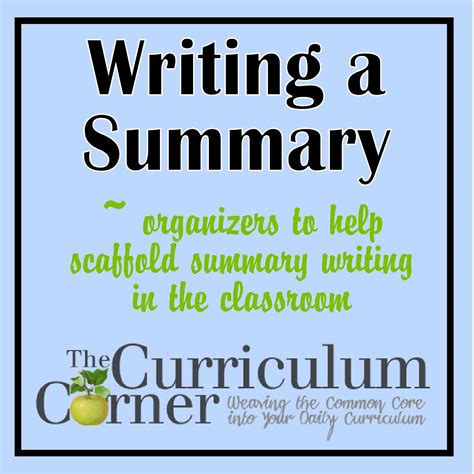 Or Summary Summary Writing Scaffolding The Curriculum Corner 123