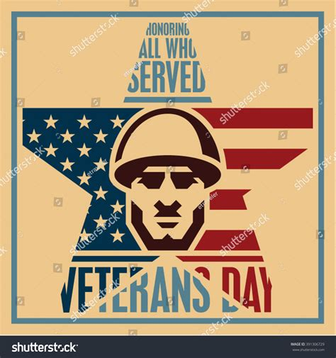 happy veterans day to army soldiergreeting card template veterans day poster veterans day vintage stock vector