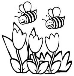 Coloring page two happy bumblebee flying over the flowers coloring