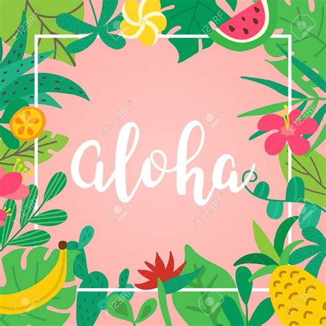 aloha concept hand drawn lettering  pink