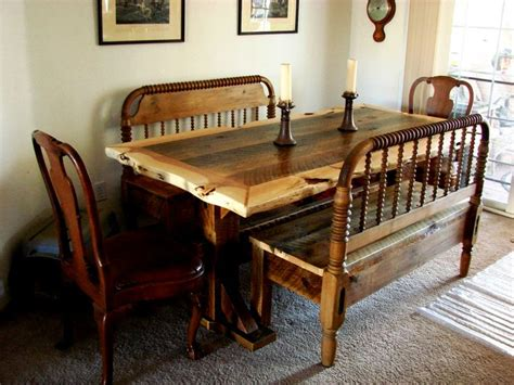 corner bench furniture custom order barnwood trestle table with live juniper