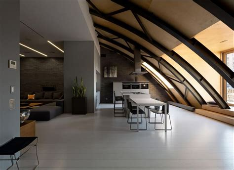 cozy loft   arched ceiling   masculine vibe