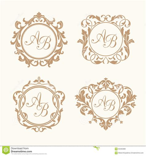 Wedding Monogram Border by Set Of Floral Monograms Stock Vector Image 65465989