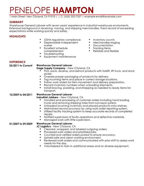 Sle General Laborer Resume by General Labor Resume Exle Production Sle Resumes Livecareer