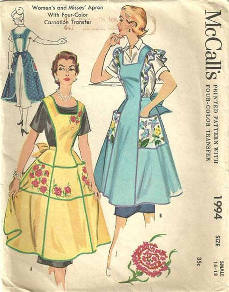 sewing pattern vintage apron vintage apron sewing pattern mccalls 1994 50s