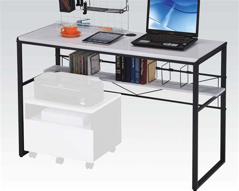 Black And White Computer Desk By Acme Furniture Ac92072 Black And White Computer Desk