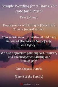 thank you letter to a pastor for funeral services best 25 funeral thank you notes ideas on