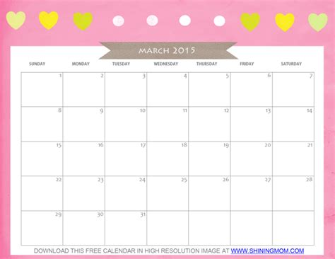 printable calendar pretty free printable march 2015 calendar cute and pretty