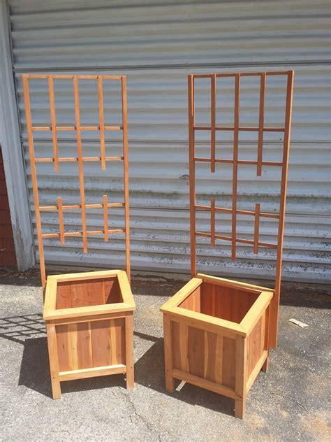 trellis planter box cedar planter box with trellis woodworking projects plans